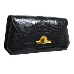 Hermes Black Alligator Leather Gold Tone Emblem Evening Clutch Flap Bag