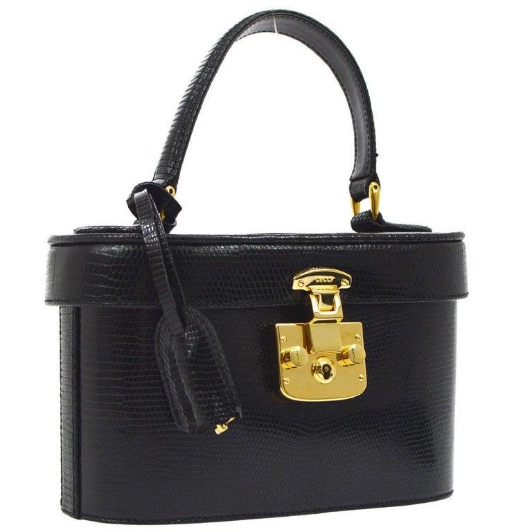 Gucci Black Lizard Leather Top Handle Satchel Vanity Style Mini Small Bag