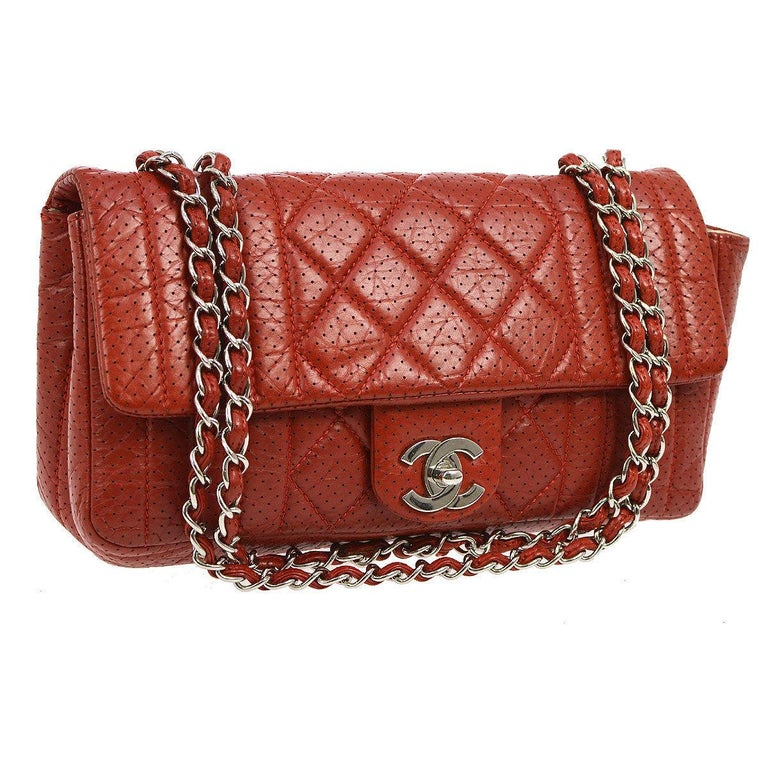 Chanel Red Perforated Leather Medium Evening Silver Shoulder Flap Bag