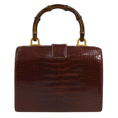Gucci Cognac Crocodile Bamboo Kelly Style Top Handle Satchel Doctor Bag