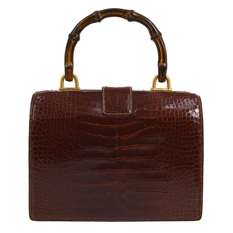 156b298d Gucci Cognac Crocodile Bamboo Kelly Style Top Handle Satchel Doctor Bag For  Sale
