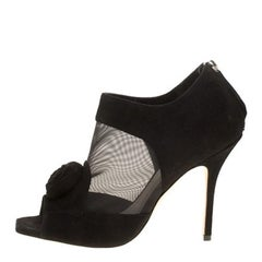 Christian Dior Black Suede Mesh Evening Heels Ankle Boots Booties