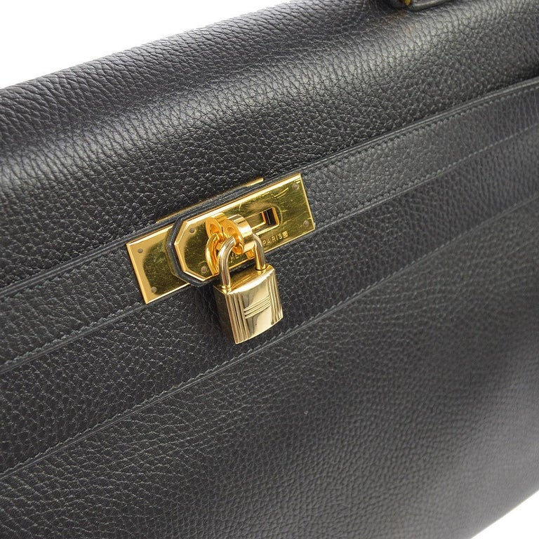 Hermes Kelly 40 Black Leather Top Handle Satchel Carryall Tote Bag In Good Condition In Chicago, IL