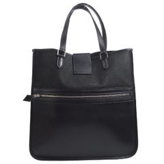 Hermes Black Leather Canvas Top Handle Carryall Travel Tote Bag
