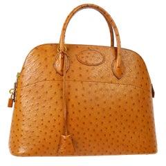 Hermes Cognac Ostrich Large Carryall 2 in 1 Top Handle Satchel Shoulder Bag