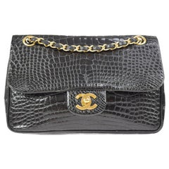 Chanel Black Crocodile Leather Gold Turnlock Evening Clutch Flap Shoulder Bag