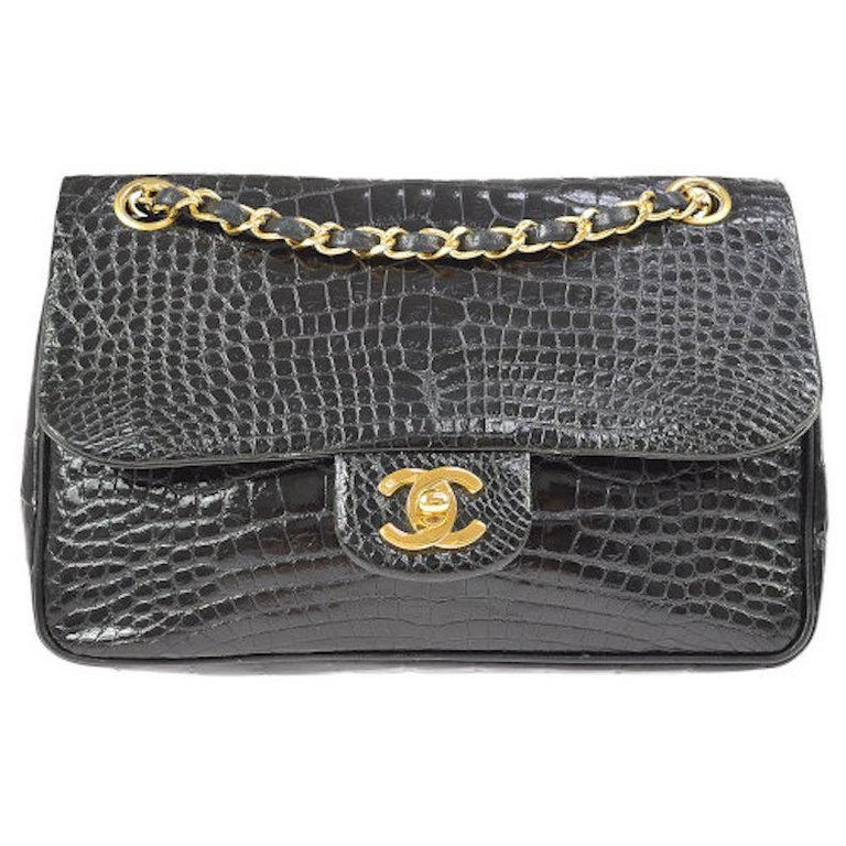 beb409cf47e1fe Chanel Black Crocodile Leather Gold Turnlock Evening Clutch Flap Shoulder  Bag For Sale