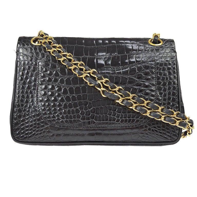 Chanel Black Crocodile Leather Gold Turnlock Evening Clutch Flap Shoulder Bag For Sale 1