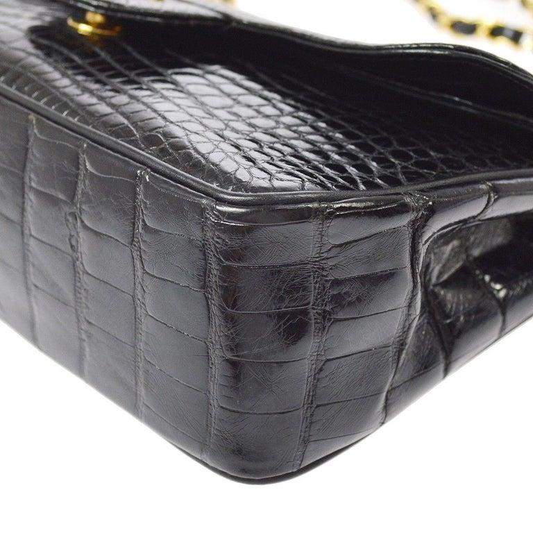 Chanel Black Crocodile Leather Gold Turnlock Evening Clutch Flap Shoulder Bag For Sale 2