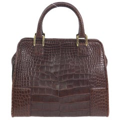 Loewe Chocolate Crocodile Leather Gold Doctor Evening Top Handle Satchel Bag