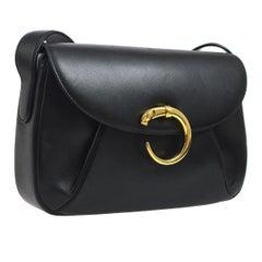 Cartier Black Leather Gold Emblem Logo Crossbody Shoulder Flap Bag