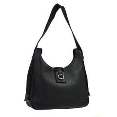 Hermes Black Leather Silver Large Carryall Shoulder Crossbody Bag