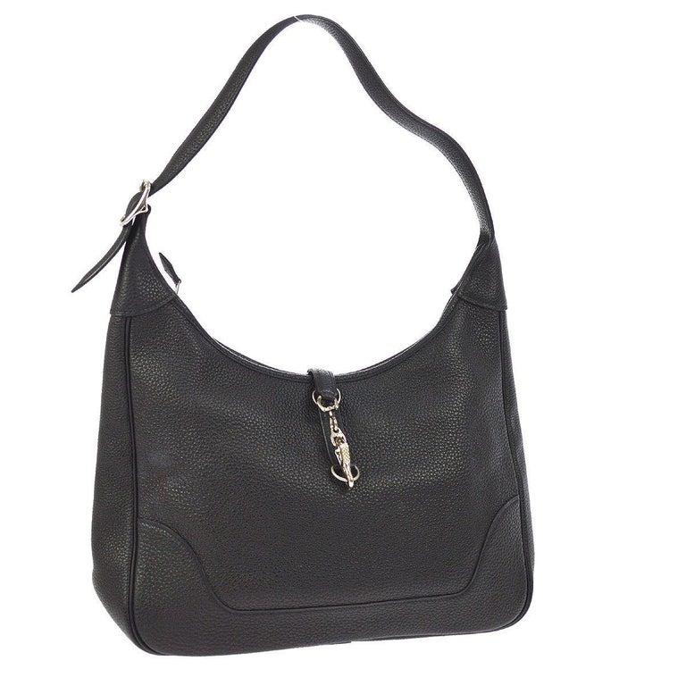 Hermes Black Leather Silver Buckle Large Hobo Style Carryall Shoulder Bag For Sale 2