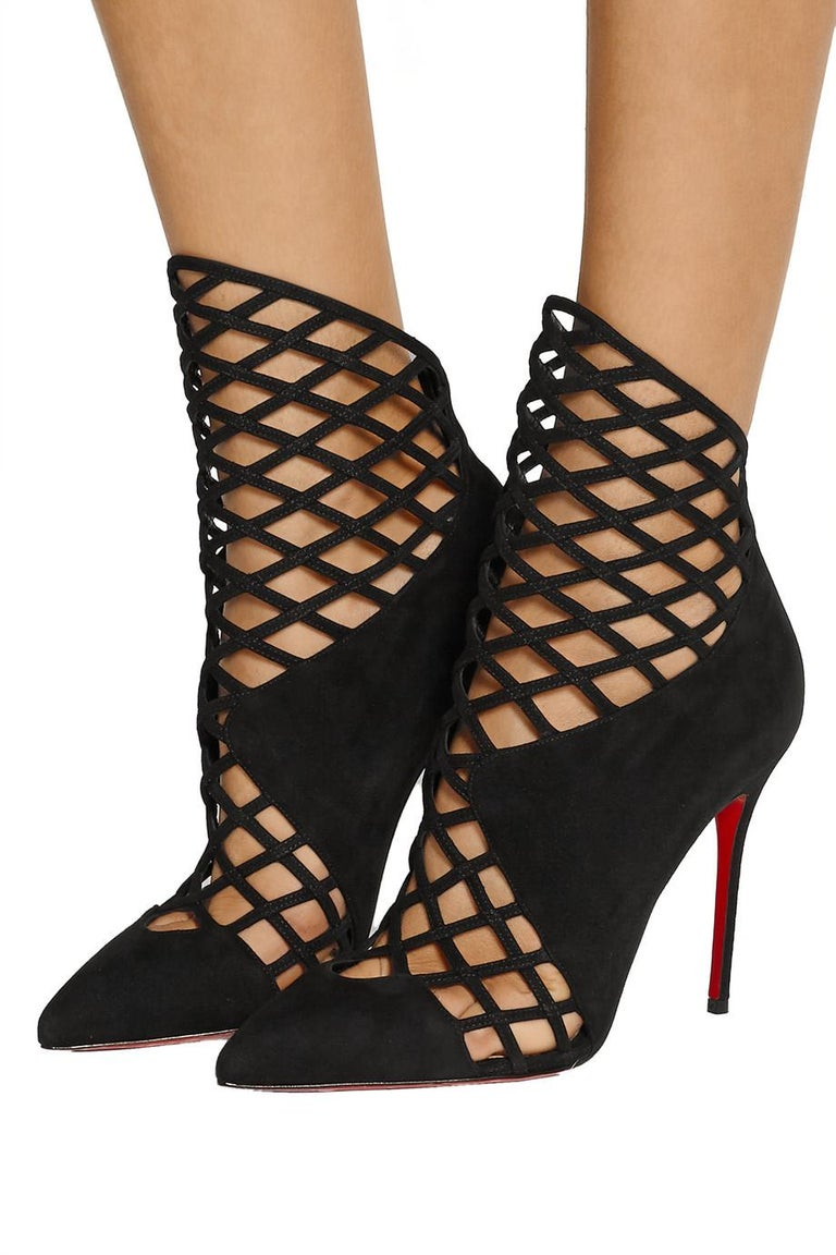 73bfde1515 Christian Louboutin NEW Black Suede Evening Cut Out Ankle Boots Booties in  Box Size IT 36