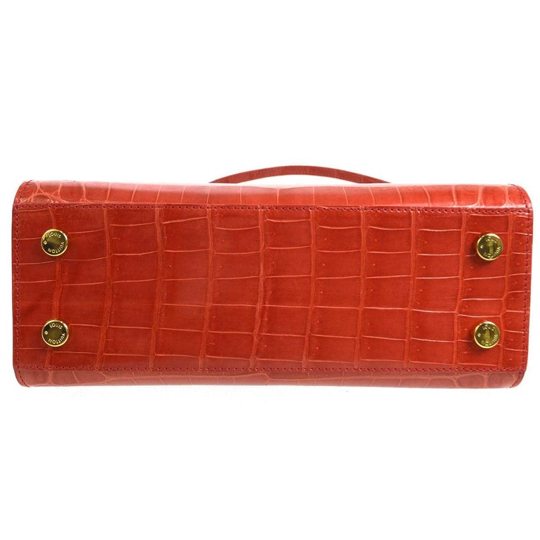 Red Louis Vuitton Rare Alligator Leather Gold Top Handle Satchel Shoulder Tote Bag For Sale