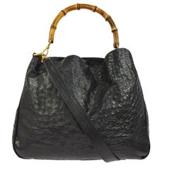 Gucci Black Ostrich Leather Bamboo Top Handle Satchel Carryall Hobo Shoulder Bag