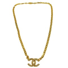 Chanel Gold Chain Link Rhinestone Charm Evening Necklace in Box