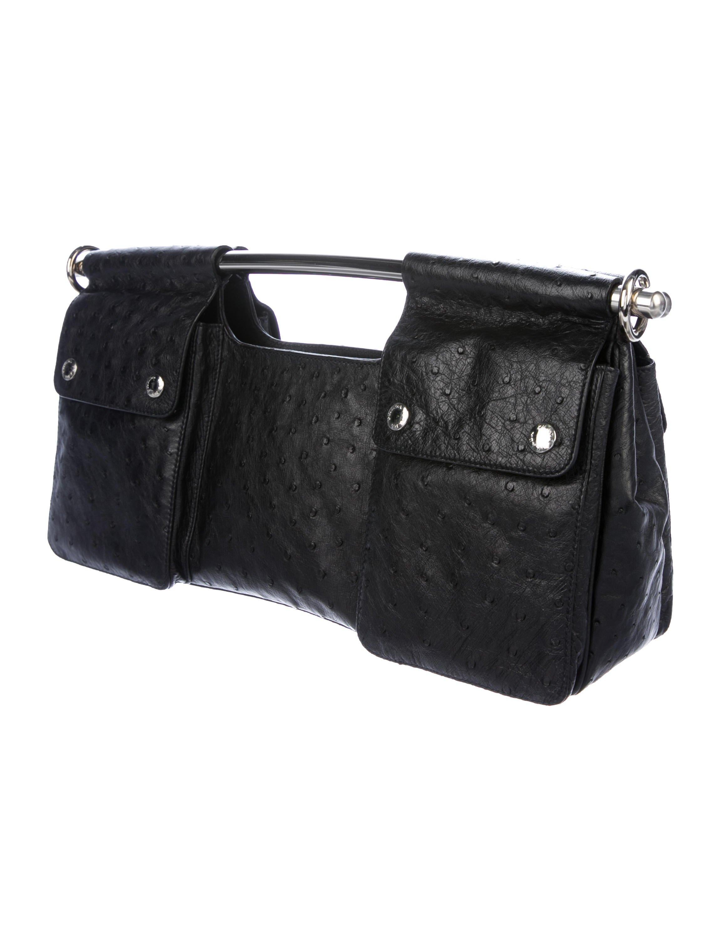 a2be7e462f1a Prada Black Ostrich Leather Metal Top Handle Bar 2 in 1 Clutch Shoulder Bag  For Sale at 1stdibs