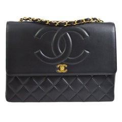 Chanel Rare Black Lambskin Leather Extra Large Evening Shoulder Flap Bag