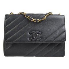 Chanel Rare Large Black Leather CC Logo Evening Flap Shoulder Bag in Box