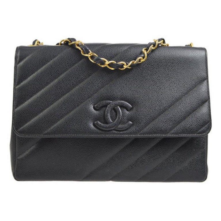 Chanel Rare Large Black Leather CC Logo Evening Flap Shoulder Bag in Box For Sale