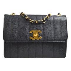 Chanel Rare Black Leather Large Gold Logo Evening Flap Shoulder Bag