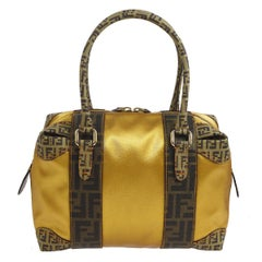 Fendi Monogram Canvas Nylon Logo Top Handle Satchel Speedy Style Tote Bag
