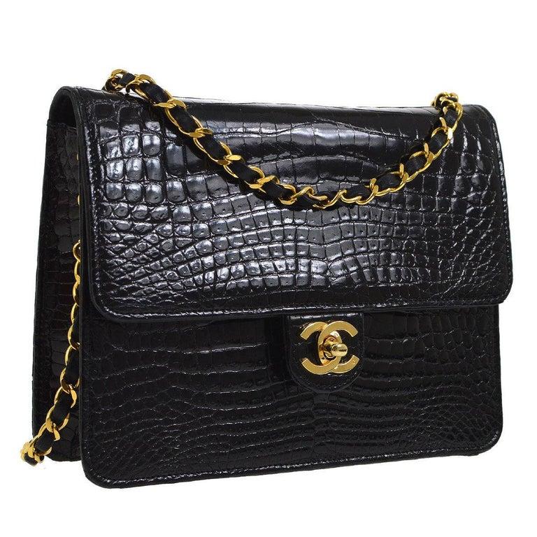Chanel Rare Black Crocodile Small Party Evening Shoulder Flap Bag
