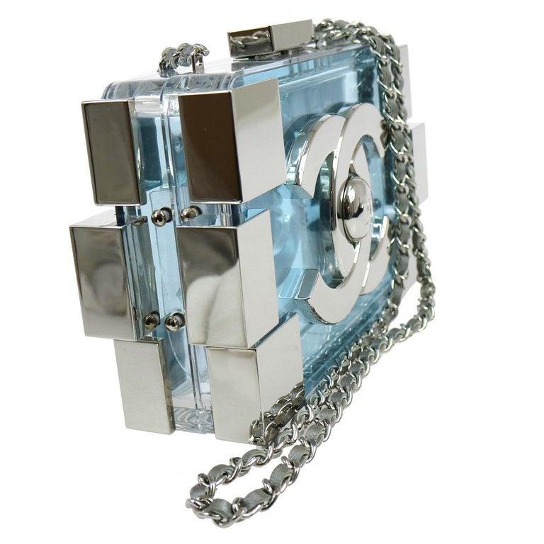 Women's Chanel LIKE NEW Rare Plexiglass Baby Blue Lego 2 in 1 Clutch Shoulder Bag in Box For Sale
