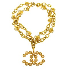 Chanel Gold Double Strand Chain Pearl Rhinestone Charm Evening Bracelet
