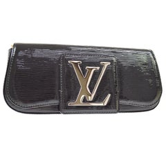Louis Vuitton Black Patent Leather Large Silver LV Evening Clutch Flap Bag