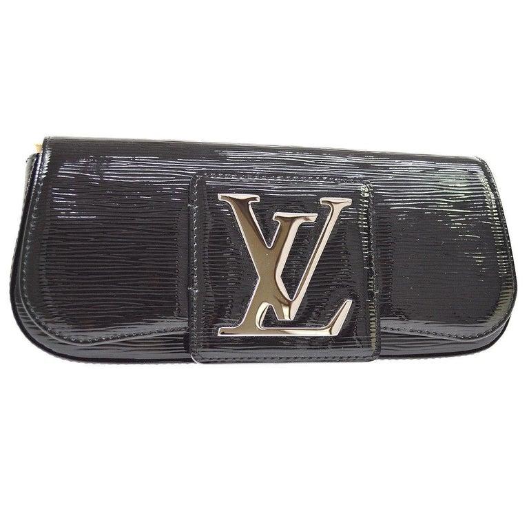 Louis Vuitton Black Patent Leather Large Silver LV Evening Clutch Flap Bag
