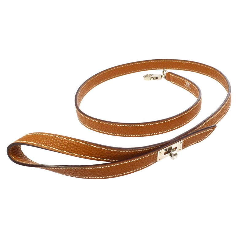 Hermes Cognac Brown Leather Silver Lock Dog Pet Animal Leash in Box
