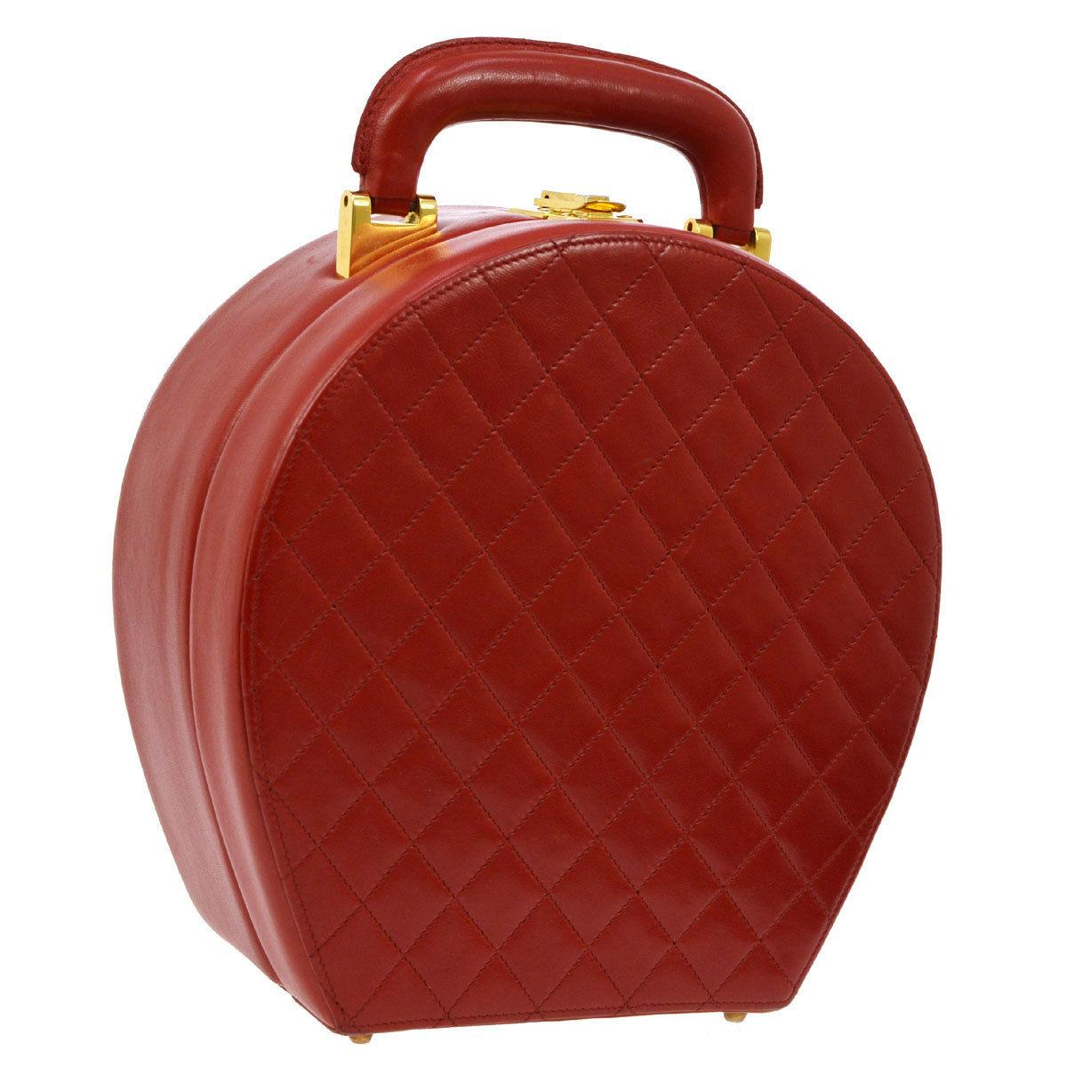 Chanel Rare Red Leather Top Handle Travel Jewelry Carry on Bag