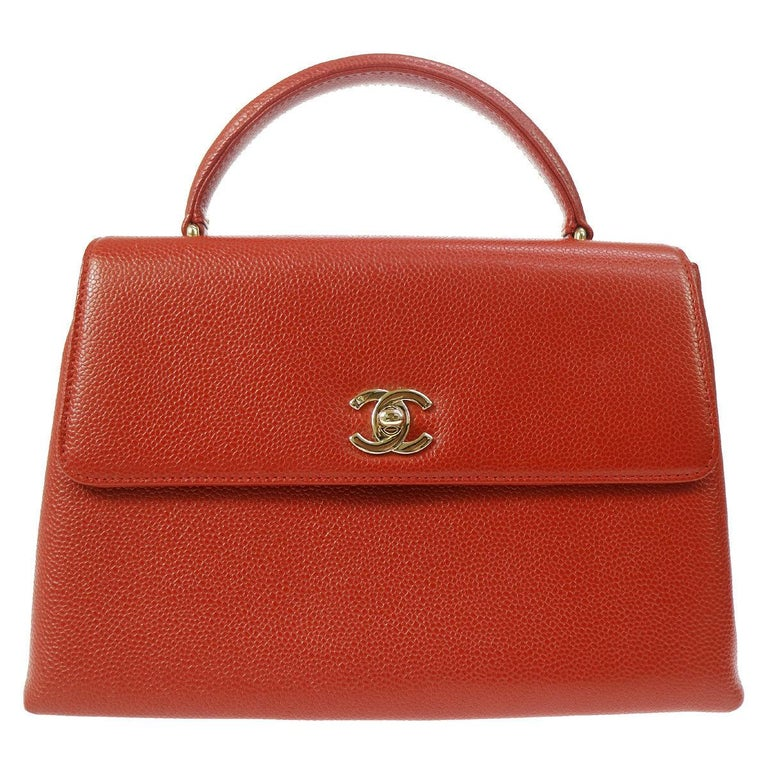 Chanel Rare Red Caviar Gold Evening Top Handle Satchel Kelly Style Flap Bag