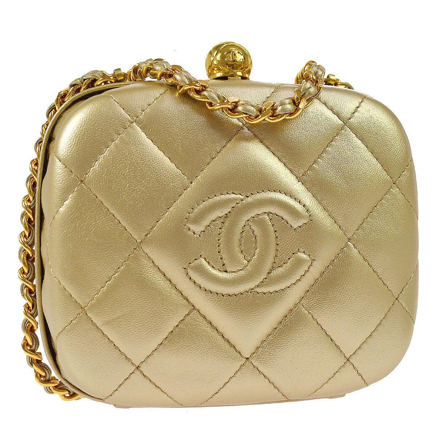 0fcca10e227 Chanel Gold Leather Kisslock Evening Small Party 2 in 1 Flap Shoulder Bag  in Box For Sale at 1stdibs