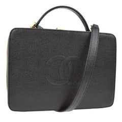 Chanel Black Top Handle Satchel Travel Vanity Cosmetic Carryall Shoulder Bag