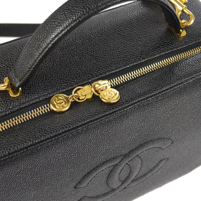 99bffa8215ee69 Chanel Black Top Handle Satchel Travel Vanity Cosmetic Carryall Shoulder Bag  In Excellent Condition For Sale