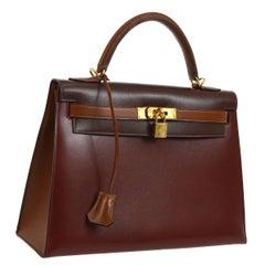 Hermes Rare Kelly 32 Burgundy Leather Gold Top Handle Satchel Shoulder Bag