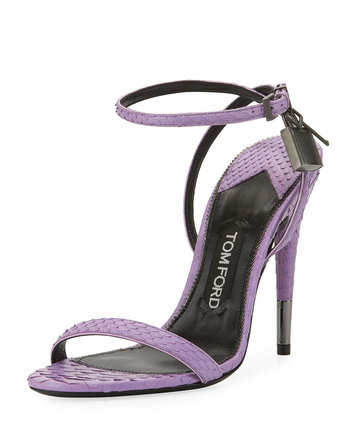 456e2235856 Tom Ford NEW Lavender Snakeskin Lock Strappy Evening Sandals Heels For Sale  at 1stdibs