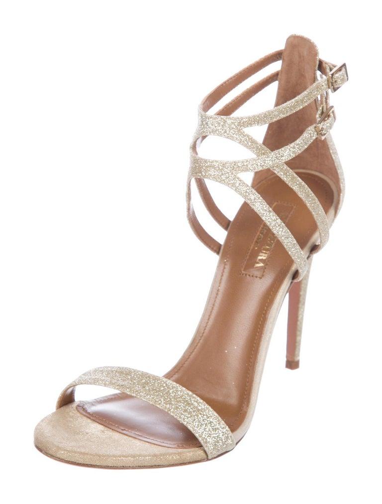 edb1684b089e Aquazzura NEW Gold Glitter Criss Cross Evening Sandals Heels in Box In New  Condition For Sale