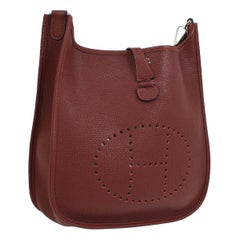 "Hermes Burgundy Wine Leather Canvas ""H"" Logo Men's Women'sCrossbody Shoulder Bag"