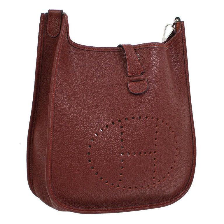 60277f6ab743 Hermes Burgundy Wine Leather Canvas
