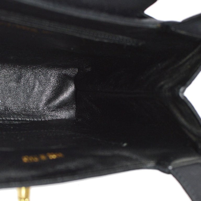 Chanel Black Satin Top Handle Satchel Kelly Style Mini Party Evening Bag For Sale 1
