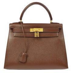 Hermes Kelly 28 Chocolate Brown Leather Mini Top Handle Satchel Shoulder Bag