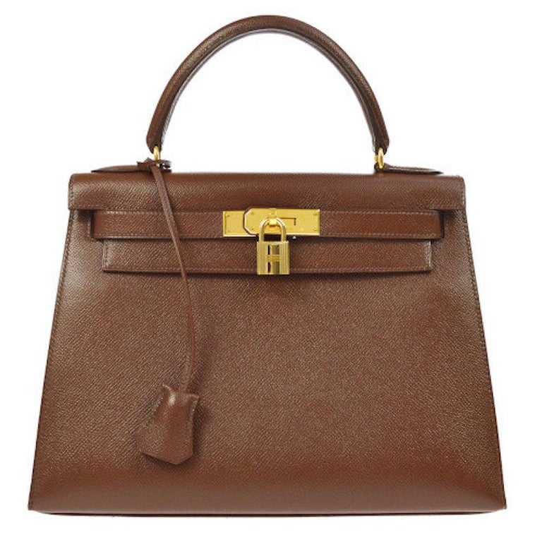 ed2aa2422d Hermes Kelly 28 Chocolate Brown Leather Mini Top Handle Satchel Shoulder Bag  For Sale at 1stdibs