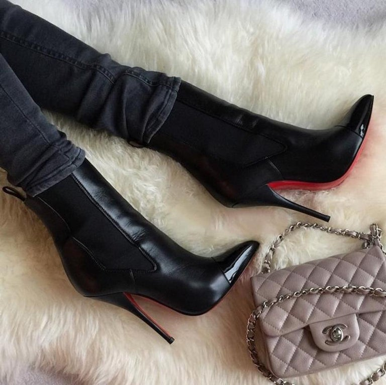 huge discount c2250 0d271 Christian Louboutin NEW Black Leather Patent Pointy Evening Ankle Boots  Booties