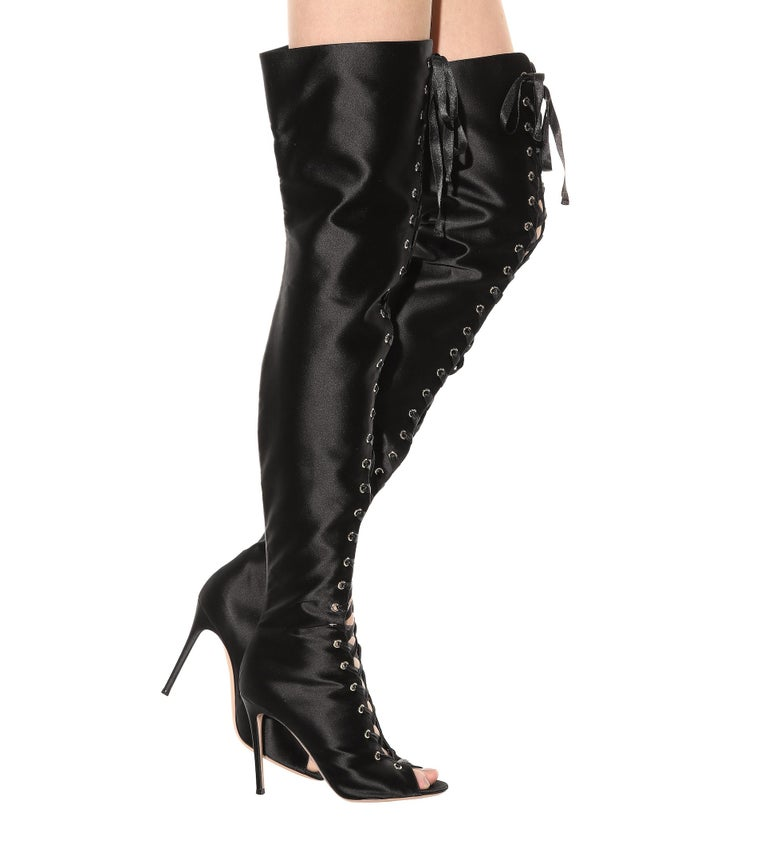 7c05a2327c09 Gianvito Rossi NEW Black Satin Lace Up Thigh High Evening Heels Boots in Box  In New
