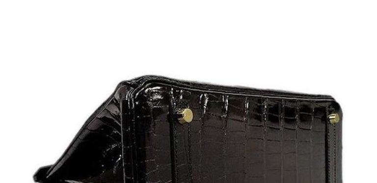 Hermes Birkin 30 NEW Rare Shiny Crocodile Top Handle Satchel Tote Bag in Box For Sale 1