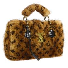 Louis Vuitton Limited Edition Monogram Fur Top Handle Satchel Kelly Style Bag